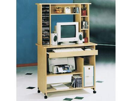 """Acme Furniture Aspen Fall 35"""" Computer Desk with Casters, Keyboard Tray, CPU Storage Shelf, Solid Wood and Veneer Materials in"""