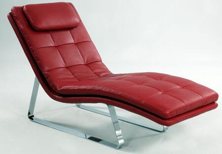 Chintaly CORVETTELNGRED Corvette Series Contemporary Leather Chaise Lounge