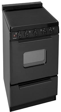 "Premier EAS 20"" Electric Smooth Top Range with Two 8 Inch and Two 6 Inch Elements, 1.5 Inch Porcelain Backguard, Hot Surface Indicator, Interior Oven Light and Storage Drawer:"
