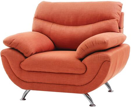Glory Furniture G439C Fabric Armchair with Metal Frame in Orange