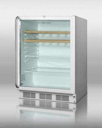Summit SCR600LOSRCX 5.5 cu.ft. Capacity Outdoor Refrigerator, Automatic Defrost, Adjustable Glass Shelves, Adjustable Thermostat: Stainless Steel Cabinet Glass Door, X Hinge Door