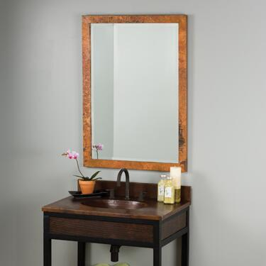 Native Trails CPM Milano Mirror with Beveled Edge Glass, Hand Hammered Copper, Horizontal or Vertical Mounting and Finished in Tempered Copper