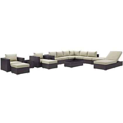 Modway Convene Collection EEI-2165-EXP- 12-Piece Outdoor Patio Sectional Set with Chaise Lounge, Coffee Table, Side Table, Square Ottoman, 2 Armchairs, 2 Armless Sections, 2 Ottomans and 2 Left Arm Loveseats in