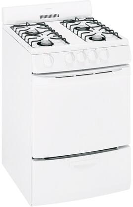 "Hotpoint RGA724EKWH 24"" Gas Freestanding Range with Open Burner Cooktop, 3 cu. ft. Primary Oven Capacity, Broiler in White"