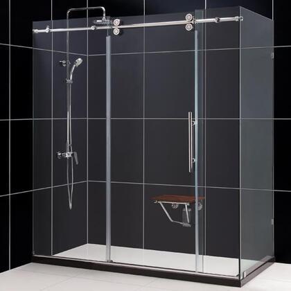 DreamLine SHEN-60367212 Enigma Frameless Shower Enclosure With Fully Frameless Heavy Glass Sliding Door, Reversible For Right Or Left Door Opening & In