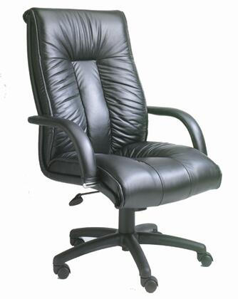 "Boss B930 45"" High Back Executive Chair with Lumbar Support, Pneumatic Gas Lift Seat Height Adjustment, Upright Locking Position, and Leather Upholstered Armrests in Black Italian Leather Upholstery"