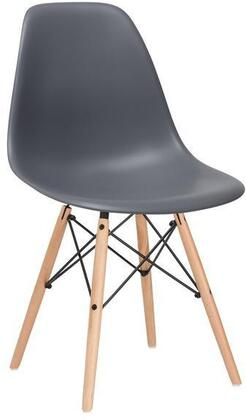 EdgeMod EM105NATGRYX4 Vortex Series Modern Wood Frame Dining Room Chair