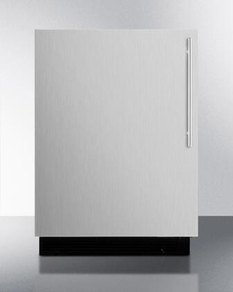 "Summit BI605RSSVHX 24"" UL Listed Undercounter Compact Refrigerator with 6.1 cu. ft. Capacity, 3 Wire Adjustable Shelves, Door Storage, Manual Defrost, and Adjustable Thermostat: Stainless Steel"