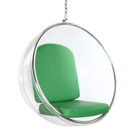 Fine Mod Imports FMI1122GREEN Bubble Series Lounge Fabric Cushion Acrylic with Polished Chrome Base Frame Accent Chair