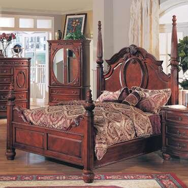 Yuan Tai MD1000 Madina Poster Bed in Red Cherry Finish