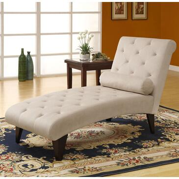 Monarch I8032 Transitional Fabric Chaise Lounge