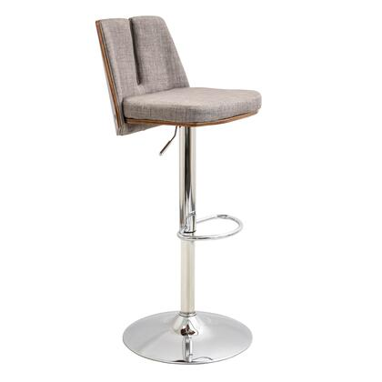 "LumiSource Varzi BS-VRZI WL 35"" - 43"" Barstool with 360 Degree Swivel, Split Backrest Design and Fabric Upholstery in"
