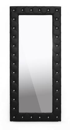 Wholesale Interiors Baxton Studio BBTM27 Stella Modern Floor Mirror with Faux Crystal Tufted, Polyurethane Foam Padding, Rubberwood Frame and Faux Leather Upholstery