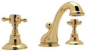 Rohl A1408XM Italian Country Bath Collection Viaggio Deck Mounted C-Spout Lavatory Faucet with 1.2 GPM Water Flow and Cross Handles in