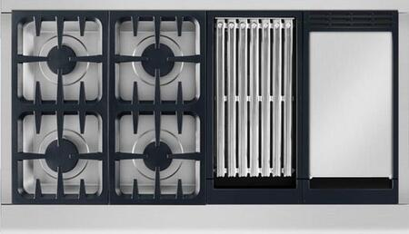 """DCS CPV2484GG 48"""" Professional Series Cooktop with 4 Dual Flow Sealed Burners, 12,000 BTU Grill, 18,000 BTU Griddle, Illuminated Knobs and Grease Management System, in Stainless Steel"""