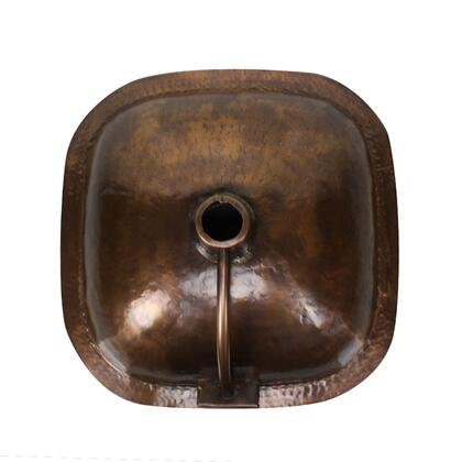 """Nantucket SQR Brightwork Home Collection 16"""" Square Hand Hammered Single Bowl Copper Bathroom Sink with Overflow Finished in:"""