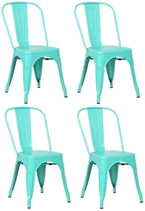 "EdgeMod Trattoria Collection 33.5"" Set of 4 Stackable Side Chairs with Non-Marking Feet Caps, Electroplated Metal and Powder Coated Iron in"