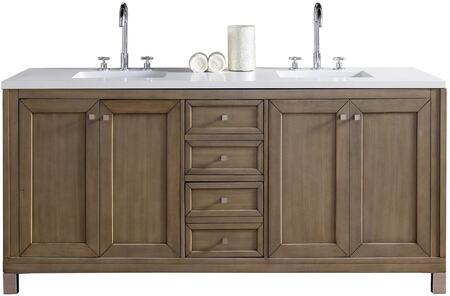 "James Martin Chicago Collection 305-V72-WWW- 72"" White Washed Walnut Double Vanity with Three Soft Close Drawers, Four Soft Close Doors, Satin Nickel Hardware and"
