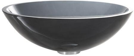 "Kraus GV104X Singletone Series 17"" Round Vessel Sink with 12-mm Tempered Clear Black Glass Construction, Easy-to-Clean Polished Surface, and Included Pop-Up Drain with Mounting Ring"