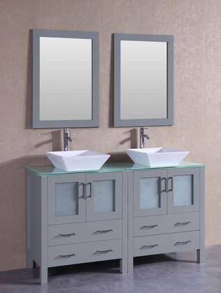 """Bosconi AGR230SQCWGX XX"""" Double Vanity with Clear Tempered Glass Top, Flared Square White Ceramic Vessel Sink, F-S02 Faucet, Mirror, 4 Doors and X Drawers in Grey"""