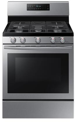 """Samsung NX58 30"""" Freestanding Gas Range with 5.8 cu. ft. Convection Oven, 5 Sealed Burners, Self Clean, Auto Shut Off and Griddle in"""