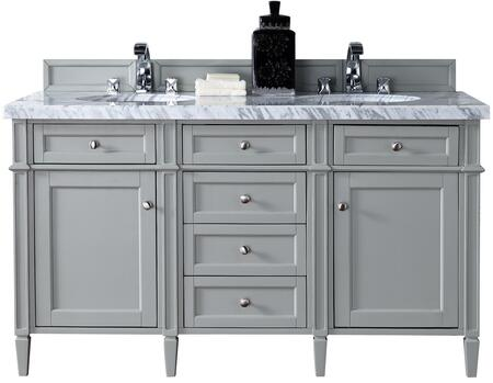 "James Martin Brittany Collection 650-V60D-UGR- 60"" Urban Gray Double Vanity with Six Drawers, Two Doors, Tapered Legs, Satin Nickel Hardware and"