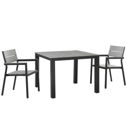 Modway Maine Collection 3 PC Outdoor Patio Dining Set with Solid Polywood Slats Top, Natural Wood Grain Design, Powder Coated Aluminum Frame and Plastic Base Glides in