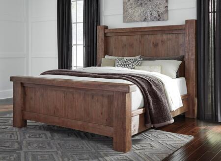 Signature Design by Ashley Tamilo B714POSTBED Size Poster Bed with Distressed Details, Large Block Posts and Wide Overhang on Footboard Top in Greyish Brown Finish