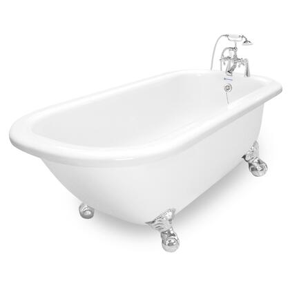 American Bath Factory T060B- Maverick Bathtub Includes Faucet (F90A-) With Metal Cross Handles, Pre-Drilled Overflow and Drain Holes: