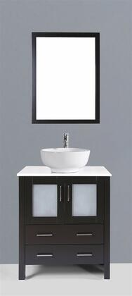 """Bosconi AB130RXX XX"""" Single Vanity with Phoenix Stone Counter Top, Ceramic Vessel Sink, Matching Mirror, X Soft Closing Drawers, 2 Doors, and Silver Hardware Finish in Dark Espresso Finish"""