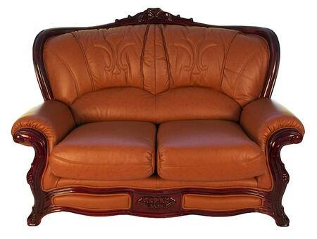 J. Horn 989BROWNL 988 Series Leather Stationary with Wood Frame Loveseat