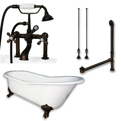 "Cambridge ST61463D6PKGXX7DH Cast Iron Slipper Clawfoot Tub 61"" x 30"" with 7"" Deck Mount Faucet Drillings and British Telephone Style Faucet Complete Plumbing Package with Six Deck Mount Risers"