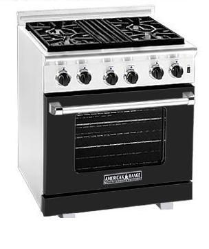 American Range ARR304BK Heritage Classic Series Natural Gas Freestanding Range with Sealed Burner Cooktop, 4.8 cu. ft. Primary Oven Capacity, in Black