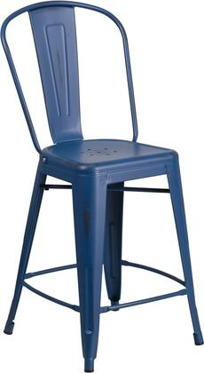 Flash Furniture ET-3534-XX-AB-GG X High Distressed Metal Indoor-Outdoor Counter Height Stool with Back and All-Weather Use Frame in Antique Blue