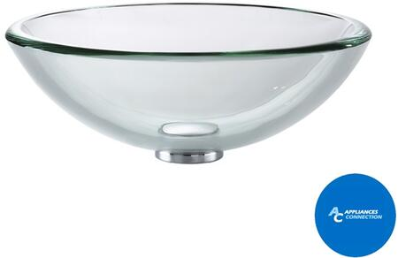 """Kraus CGV10119MM15500 Singletone Series 17"""" Round Vessel Sink with 19-mm Tempered Glass Construction, Easy-to-Clean Polished Surface, and Included Virtus Faucet, Clear Glass"""