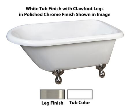 "Barclay ATR57 Aline, 57"" Acrylic Roll Top Clawfoot Tub, White Finish, Overflow, Faucet Mount, Clawfoot Finish"