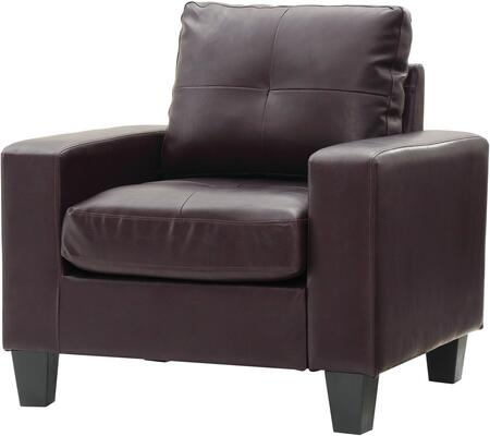 Glory Furniture G464AC Newbury Series Faux Leather Armchair in Sauvage Brown