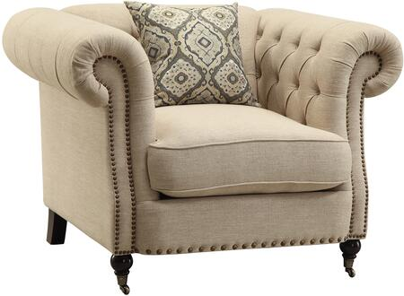 Coaster 505823 Trivellato Series Fabric Armchair with Wood Frame in Oatmeal