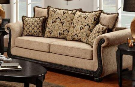 "Chelsea Home Furniture 6000-SX 92"" Verona Lily Sofa, with Kiln Dried Hardwood Frame, No Sag Springs, Traditional Carved Wood Design, Polyester Upholstery"