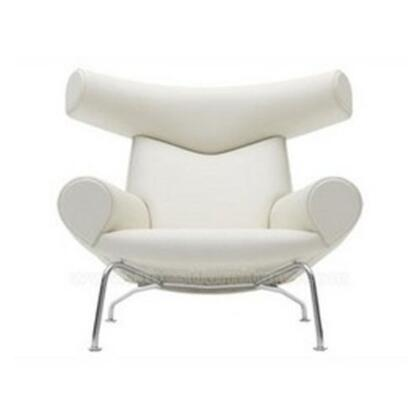 Fine Mod Imports FMI1212WHITE Lounge Italian Leather Stainless Steel Frame Accent Chair