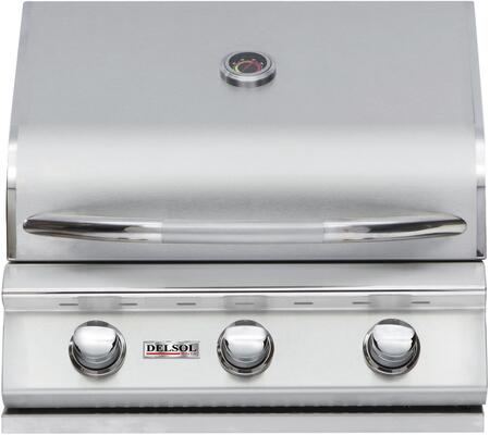 """Delsol Delta DSBQ25GN 25"""" Natural Gas Outdoor Grill with 10500 BTU capacity, 3 burners in stainless steel"""