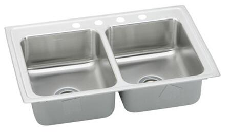 "Elkay PSRQ4322 Gourmet Pacemaker Stainless Steel 43"" x 22"" Double Basin Top Mount Kitchen Sink with 7-1/8"" Depth and Quick-Clip Mounting System:"