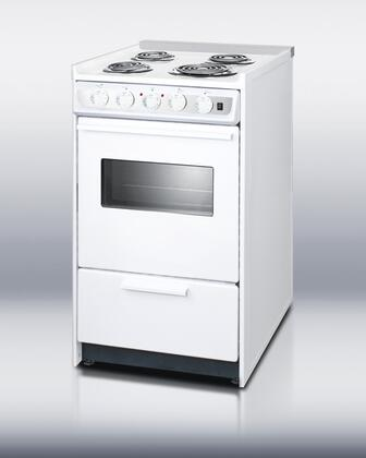 "Summit WEM115RW 20""  White Slide-in Electric Range with Coil Element Cooktop, 2.46 cu. ft. Primary Oven Capacity, Storage"