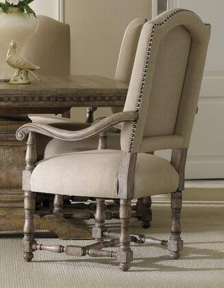 Hooker Furniture Sorella Series 5107-755 Dining Room Upholstered Chair with Turned Legs, Nail Head Accents and Fabric Upholstery in Taupe (Sold in 2 Chairs per Order/Priced Individually)