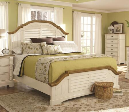 Coaster 202880 Oleta Panel Bed with Shutter Detailed Headboard, Footboard and Rails & Slats in Buttermilk Finish,