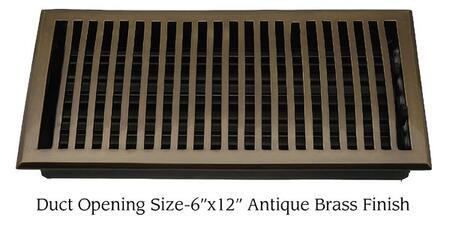 "Brass Elegans 116HR Contemporary 6"" x 12"" Solid Brass Floor Register"
