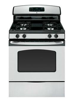GE JGB250SETSS  Natural Gas (factory set) Freestanding Range with Sealed Burner Cooktop, 4.8 cu. ft. Primary Oven Capacity, Storage in Stainless Steel