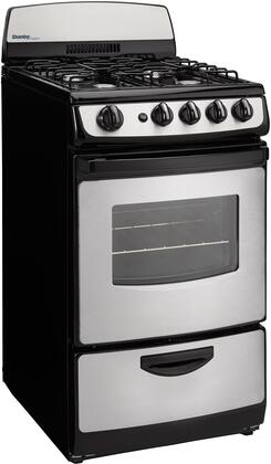 "Danby DR201B 20"" Designer Series Freestanding Gas Range with 4 Open Burners, 2.4 cu. ft. Oven Capacity, Electronic Ignition, Push and Turn Safety Knobs, Porcelain Cooktop and 2 Oven Racks, in"