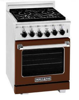 American Range ARR244HB Heritage Classic Series Natural Gas Freestanding Range with Sealed Burner Cooktop, 3.71 cu. ft. Primary Oven Capacity, in Brown