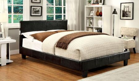 Furniture of America Evans CM7099X Bed with Contemporary Style, Padded Platform Bed, Tapered Legs and Solid Wood in Espresso